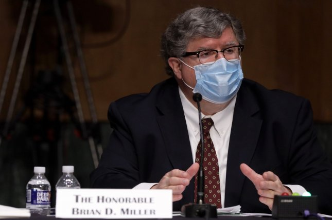 Brian Miller testifies during a confirmation hearing before Senate Committee on Banking, Housing, and Urban Affairs after being nominated by President Donald Trump to manage a coronavirus releif fund. Pool photo by Alex Wong/UPI