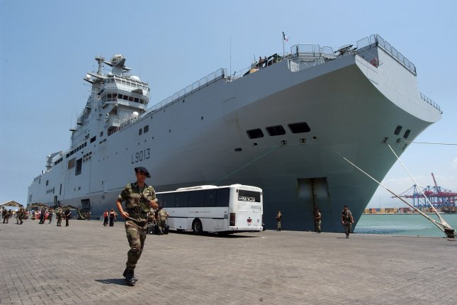A French Naval Mistral warship, pictured in 2006 in Beirut, Lebanon. UPI File/Norbert Schiller