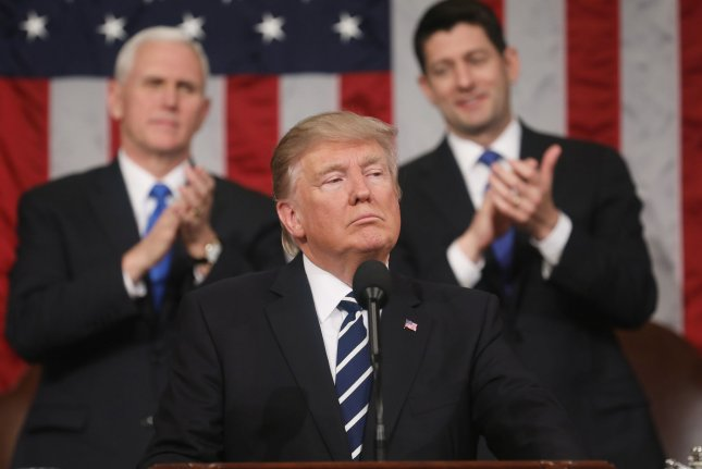 President Donald Trump delivers his first address to a joint session of Congress on Tuesday night from the floor of the U.S. House of Representatives in Washington, D.C. Traditionally, the first address to a joint session of Congress by a newly-elected president is not referred to as a State of the Union. Pool Photo by Jim Lo Scalzo/UPI