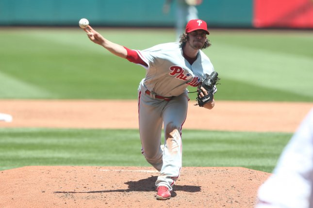 Philadelphia Phillies starting pitcher Aaron Nola delivers a pitch. File photo by Bill Greenblatt/UPI