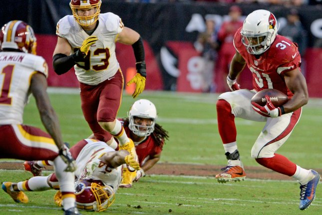 Arizona Cardinals running back David Johnson (R) is expected to see a bigger workload this season according to coach Bruce Arians. File photo by Art Foxall/UPI