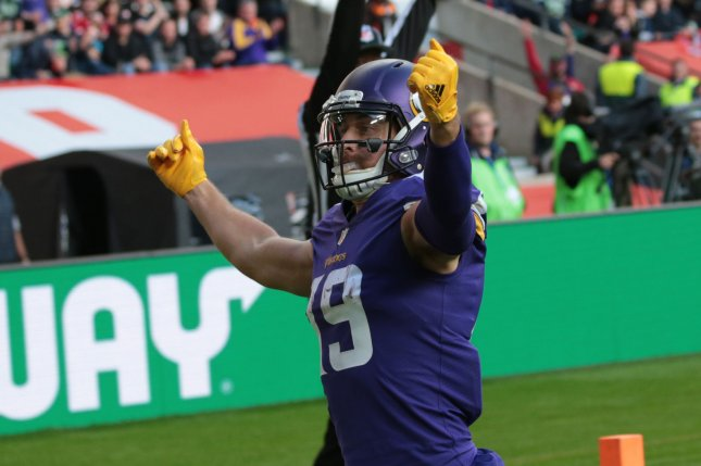 Minnesota Vikings wide receiver Adam Thielen celebrates a touchdown in the NFL International Series match against the Cleveland Browns at Twickenham Stadium, London on October 29, 2017. File photo by Hugo Philpott/UPI