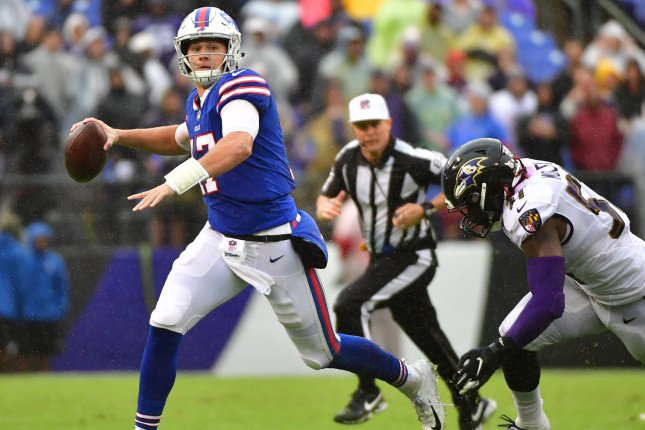 Buffalo Bills quarterback Josh Allen (17) scrambles against the Baltimore Ravens in the third quarter on September 9 at M&T Bank Stadium in Baltimore. Photo by Kevin Dietsch/UPI