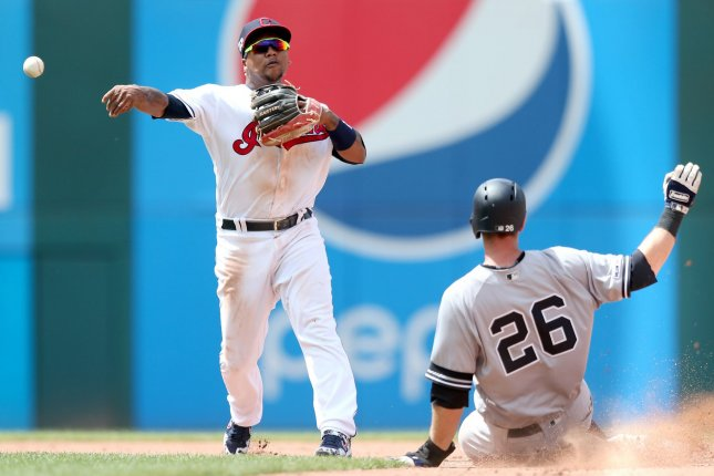 Cleveland Indians infielder Jose Ramirez (L) batted sixth for the Indians during the opener of a three-game series against the Chicago White Sox on Tuesday. File Photo by Aaron Josefczyk/UPI
