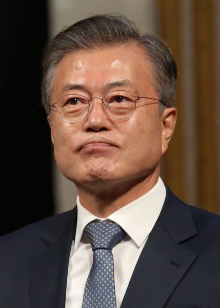 At a meeting of the National Security Council Thursday, South Korean President Moon Jae-in congratulated U.S. President Joe Biden on his inauguration and called for renewed efforts in the Korean peace process. Photo by David Silpa/UPI