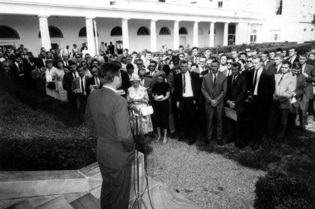 President John F. Kennedy addresses the first group of Peace Corps volunteers headed for Ghana and Tanzania on August 8, 1961. On September 22, 1961, the president signed a law giving the Peace Corps permanent status. UPI File Photo