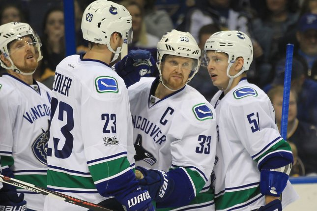 Vancouver Canucks Henrik Sedin of Sweden (33) is congratulated by teammates after scoring a goal against the St. Louis Blues in the second period at the Scottrade Center in St. Louis on February 16, 2017. Photo by BIll Greenblatt/UPI