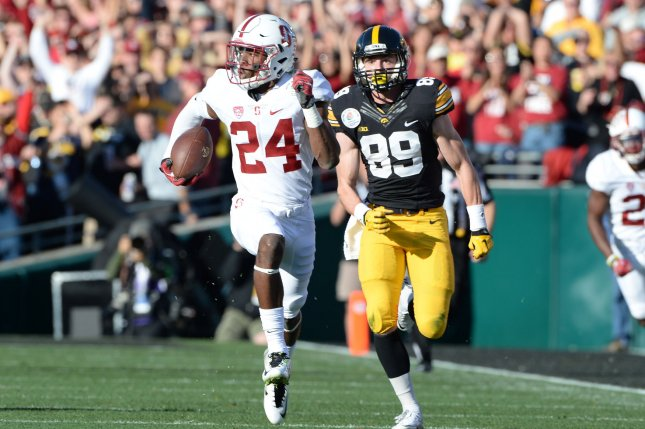 Stanford Cardinal cornerback Quenton Meeks (24) runs back an interception for a touchdown during the first quarter of the 102nd Rose Bowl game on January 1, 2016 in Pasadena, California. File photo by Jon SooHoo/UPI