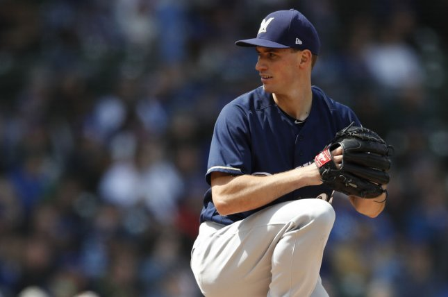 Milwaukee Brewers starting pitcher Brent Suter. Photo by Kamil Krzaczynski/UPI