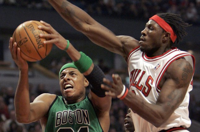 Former Chicago Bulls center Ben Wallace (R) was named a Basketball Hall of Fame finalist Friday. File Photo by Mark Cowan/UPI