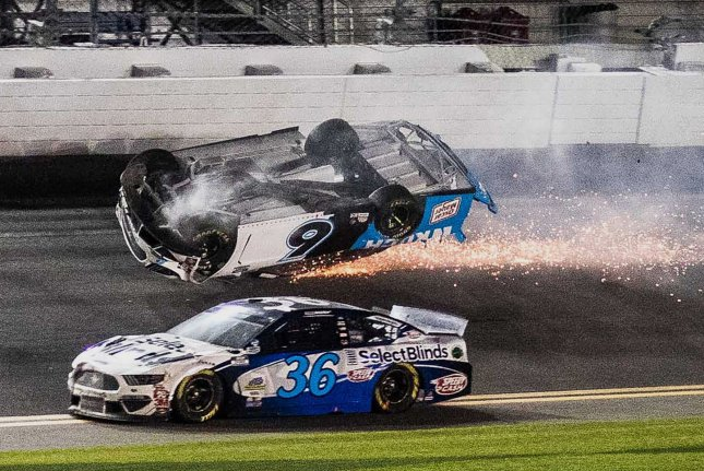 Ryan Newman (6) spent less than 48 hours at a Daytona Beach, Fla., hospital following a violent wreck during the final lap of Sunday's 2020 Daytona 500 at Daytona International Speedway. Photo by Edwin Locke/UPI