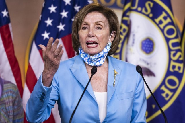 Speaker of the House Nancy Pelosi office's accused Republican House leader Kevin McCarthy of attempting to distract from his own party Wednesday by introducing a resolution over wearing masks in the chamber. Pool photo by Jim Lo Scalzo/UPI