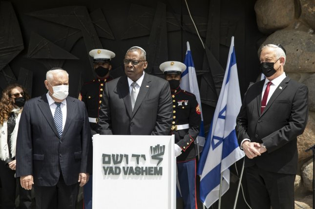 U.S. Defense Secretary Lloyd Austin and Israeli defense minister Benny Gantz (R), pictured here during a ceremony in the Hall of Remembrance at Yad Vashem in Israel on April 12, met at the Pentagon in Washington, D.C., on Thursday. File Photo by Heidi Levine/UPI