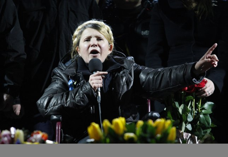 Ukrainian opposition leader Yulia Tymoshenko addresses anti-government protesters on the Independence Square in Kiev on February 22, 2014. UPI/Ivan Vakolenko