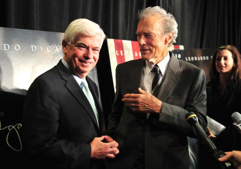 Former Sen. Chris Dodd (L), with director Clint Eastwood in Washington Nov. 8, 2011. UPI/Kevin Dietsch