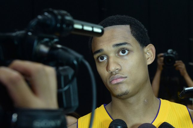 Los Angeles Lakers' Jordan Clarkson is interviewed during Lakers media day in El Segundo, California on September 28, 2015. Photo by Jim Ruymen/UPI