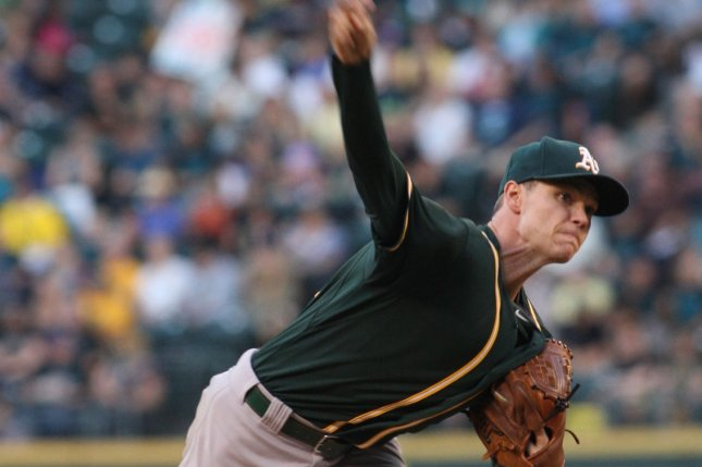 Former Oakland Athletics pitcher Sonny Gray pitches against the Seattle Mariners in the second inning. File photo by Jim Bryant/UPI