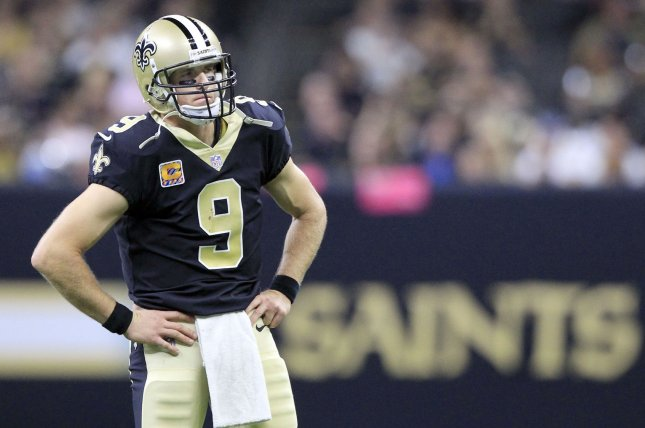 New Orleans Saints quarterback Drew Brees (9) waits for play to resume against the Detroit Lions on October 15 at the Mercedes-Benz Superdome in New Orleans, La. Photo by AJ Sisco/UPI