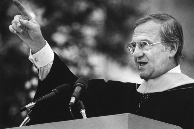 Chrysler Chairman Lee Iacocca delivers a commencement address at the Massachusetts Institute of technology on June 3, 1985, in Cambridge, Mass. UPI Photo/File