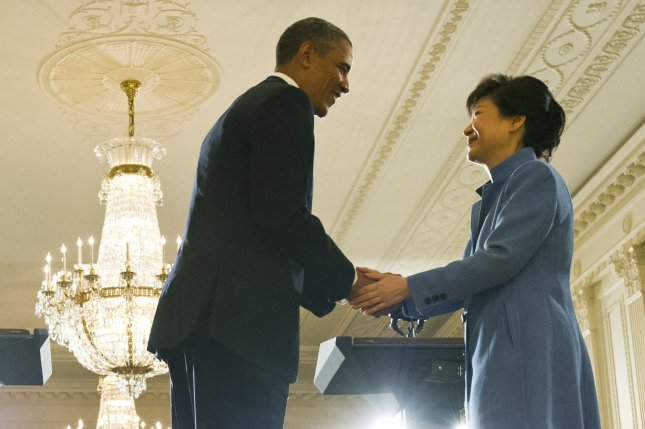 U.S. President Barack Obama shakes hands with President Park Geun-hye of the Republic of Korea following a joint press conference in the East Room at the White House on May 7, 2013 in Washington, D.C. (UPI/Kevin Dietsch)
