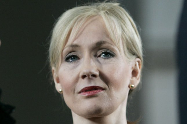 Author J.K. Rowling stands on stage during before the Annual Meeting of the Harvard Alumni Association which followed the 2008 Harvard University Commencements Exercises on the campus of Harvard University in Cambridge, Massachusetts on June 5, 2008. (UPI Photo/Matthew Healey)