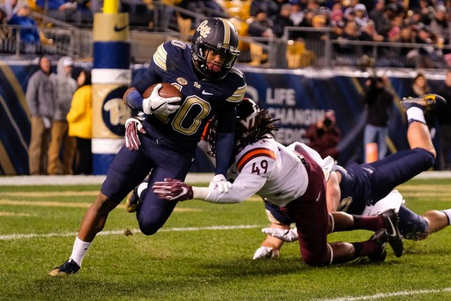 Pittsburgh Panthers wide receiver Quadree Henderson (10) is tackled by Virginia Tech Hokies linebacker Tremaine Edmunds (49) in the first quarter on October 27, 2016 in Pittsburgh. File photo by Matt Durisko/UPI