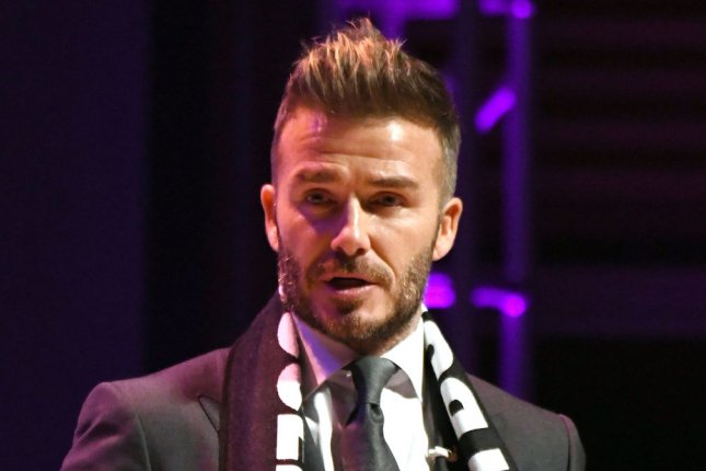 David Beckham talks to fans and the media at a press conference on January 29 at the Adrienne Arsht Center in Miami. File Photo by Gary I Rothstein/UPI.