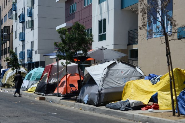 Many of the deaths last year occurred in the infamous Skid Row section of Los Angeles. File Photo by Jim Ruymen/UPI