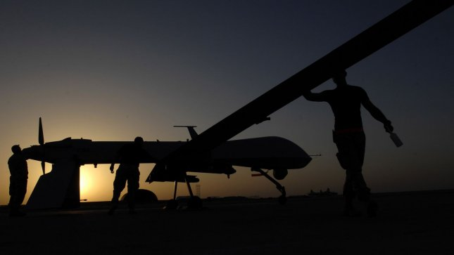An MQ-1 Predator unmanned aerial vehicle prior to a night mission from Ali Air Base, Iraq on November 5, 2007. UPI/Jonathan Snyder/U.S. Air Force
