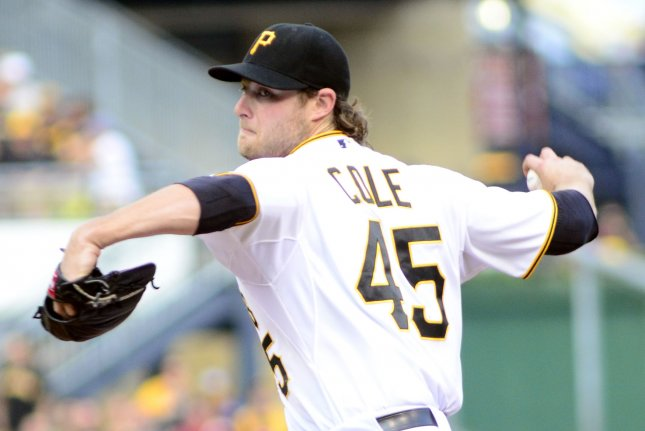Pittsburgh Pirates starting pitcher Gerrit Cole (45) throws in the first inning against the Los Angeles Dodgers at PNC Park in Pittsburgh, on August 7, 2015. Photo by Archie Carpenter/UPI