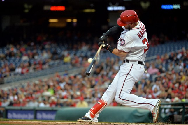 Washington Nationals right fielder Bryce Harper (34). Photo by Kevin Dietsch/UPI