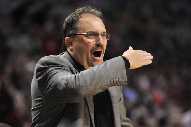 Detroit Pistons head coach Stan Van Gundy yells during the contest. File photo by Brian Kersey/UPI