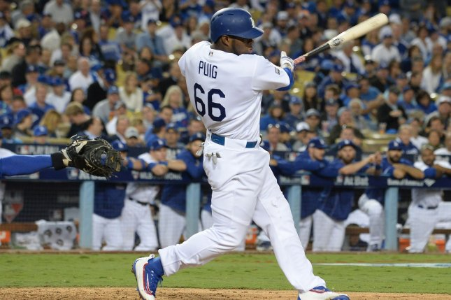 sale retailer 6e71e 487ad Yasiel Puig keys power surge as Los Angeles Dodgers rout ...