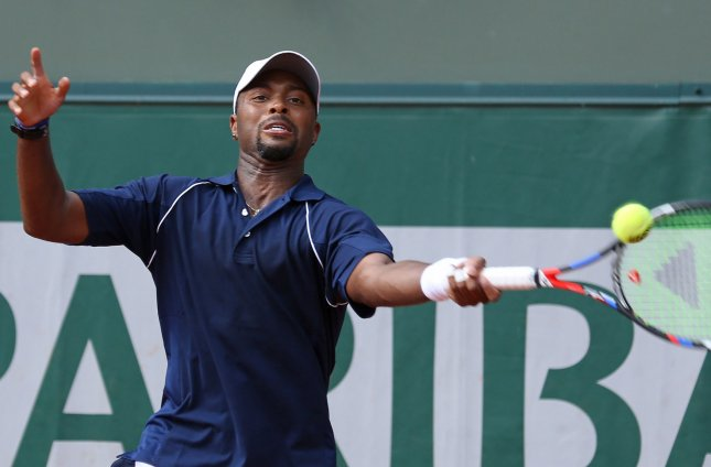 Donald Young hits a shot at the French Open. Young lost in the Aegon International semifinals Thursday. Photo by David Silpa/UPI
