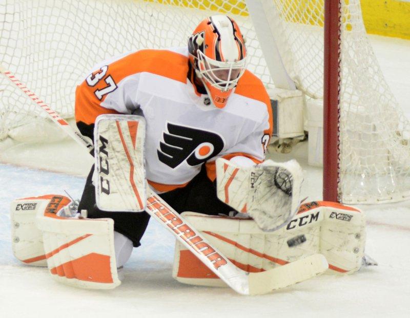 Brian Elliott and the Philadelphia Flyers take on the Columbus Blue Jackets on Thursday. Photo by Archie Carpenter/UPI