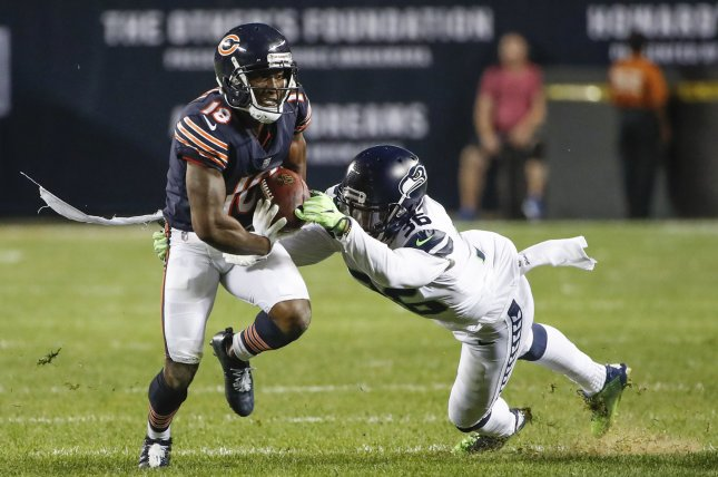 Chicago Bears wide receiver Taylor Gabriel (18) recorded 29 receptions for 353 yards and four touchdowns last season. File Photo by Kamil Krzaczynski/UPI