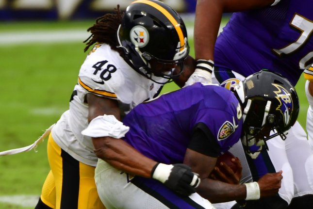 Pittsburgh Steelers outside linebacker Bud Dupree (48) recorded 31 total tackles, eight sacks, two forced fumbles and two passes defensed in 11 games this season. File Photo by David Tulis/UPI