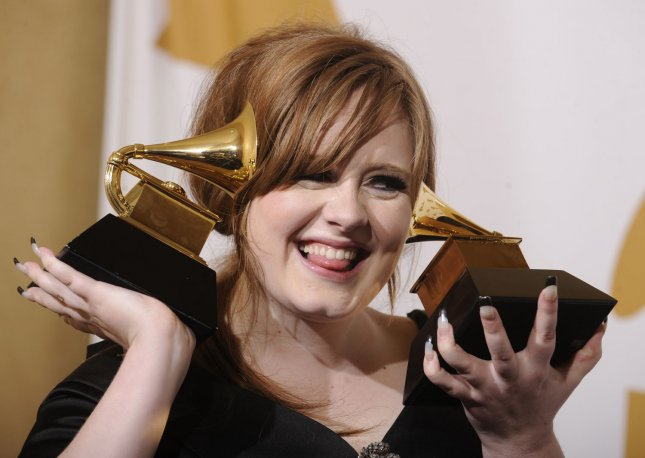 Adele holds her Grammy Awards for Best Female Pop Vocal Performance and Best New Artist at the 51st annual Grammy Awards at the Staples Center in Los Angeles on February 8, 2009. UPI/Phil McCarten