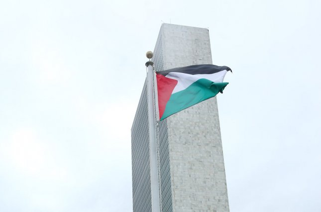 The Palestinian flag flies for the first time over the United Nations following a flag raising ceremony Wednesday during the 70th session of the General Debate of the United Nations General Assembly at the UN in New York City. Photo by Monika Graff/UPI