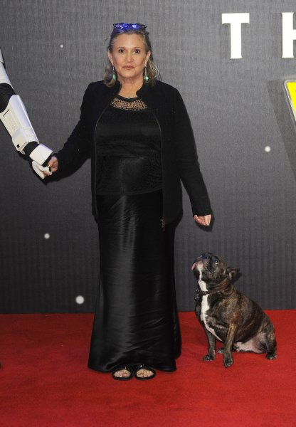 "American actress Carrie Fisher attends the European premiere of ""Star Wars: The Force Awakens"" in London on December 16, 2015. Photo by Paul Treadway/ UPI"
