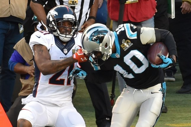 Denver's Aqib Talib, left, won't be disciplined by the NFL after admitting he shot himself in the leg last year. File photo by Jon SooHoo/UPI