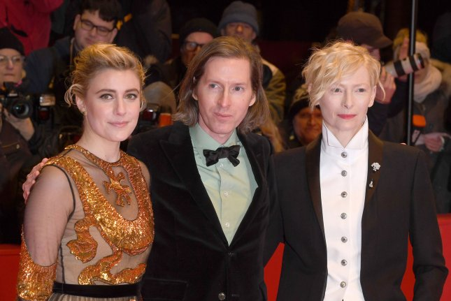 American actress Greta Gerwig, American director Wes Anderson and Scottish actress Tilda Swinton attend the screening of Isle Of Dogs at the Berlinale Palace in Berlin on February 15, 2018. Photo by Paul Treadway/ UPI