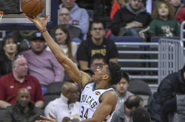 Milwaukee Bucks forward Giannis Antetokounmpo (34) scored 15 points and had 12 rebounds and six assists in Friday's win against the Minnesota Timberwolves. Photo by Mark Goldman/UPI