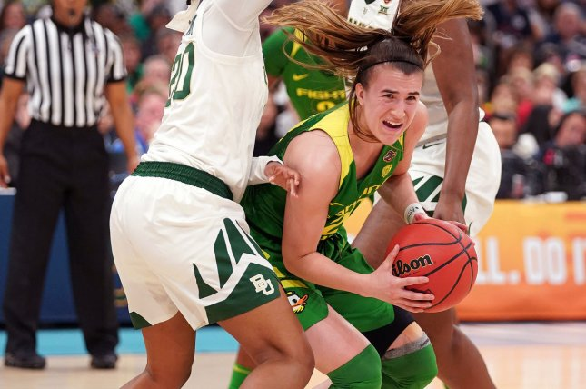 Oregon Ducks guard Sabrina Ionescu (20) is expected to be the No. 1 overall pick in the 2020 WNBA Draft. File Photo by Kevin Dietsch/UPI