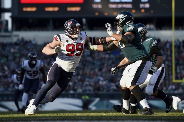Houston Texans defensive end J.J. Watt (99) expects to play in the Texans' first postseason game. File Photo by Derik Hamilton/UPI
