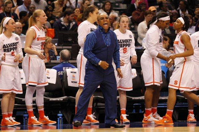 Syracuse women's basketball head coach Quentin Hillsman (C), shown April 3, 2016, guided the Orange to the national championship game in 2016. File Photo by John Sommers II/UPI