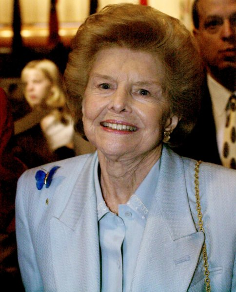 Former First Lady Betty Ford, seen in this June 4, 2001 file photo, died at 93 in Rancho Mirage, California, on July 8, 2011. Her husband Former President Gerald Ford died in 2006. UPI/Michael Kleinfeld/FILE