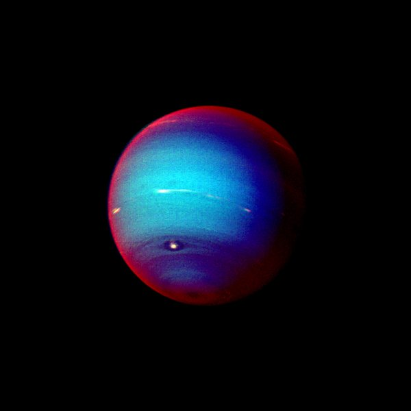This false color photograph of Neptune was made from Voyager 2 images taken in January 1996. The image reveals the presence of a ubiquitous haze that covers Neptune in a semitransparent layer. Near the center of the disk, sunlight passes through the haze and deeper into the atmosphere, where some wavelengths are absorbed by methane gas, causing the center of the image to appear less red. Near the edge of the planet, the haze scatters sunlight at higher altitude, above most of the methane, causing the bright red edge around the planet. By measuring haze brightness at several wavelengths, scientists are able to estimate the thickness of the haze and its ability to scatter sunlight. The image is among the last full disk photos that Voyager 2 took before beginning its endless journey into interstellar space. (UPI Photo/NASA/JPL)