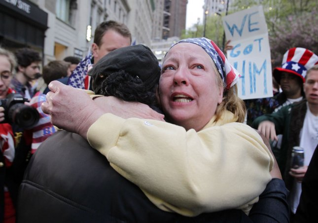 Mary Power reacts at the site of the former Twin Towers hours after Osama Bin Laden is killed by U.S. Navy Seals almost 10 years after the terrorist attacks on the World Trade Center at Ground Zero in New York on May 2, 2011. UPI/John Angelillo