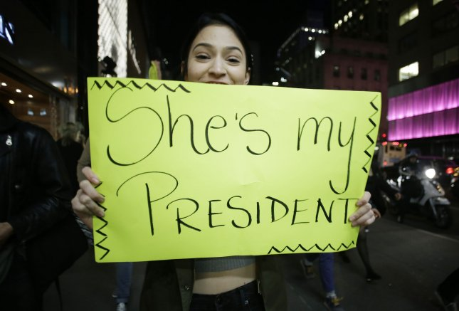 Democrat Hillary Clinton won the popular vote for president, but Donald Trump got the most Electoral College votes, prompting protests around the country. Photo by John Angelillo/UPI
